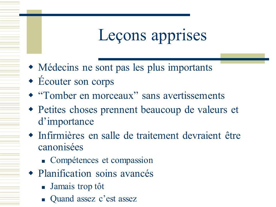 Leçons apprises Médecins ne sont pas les plus importants