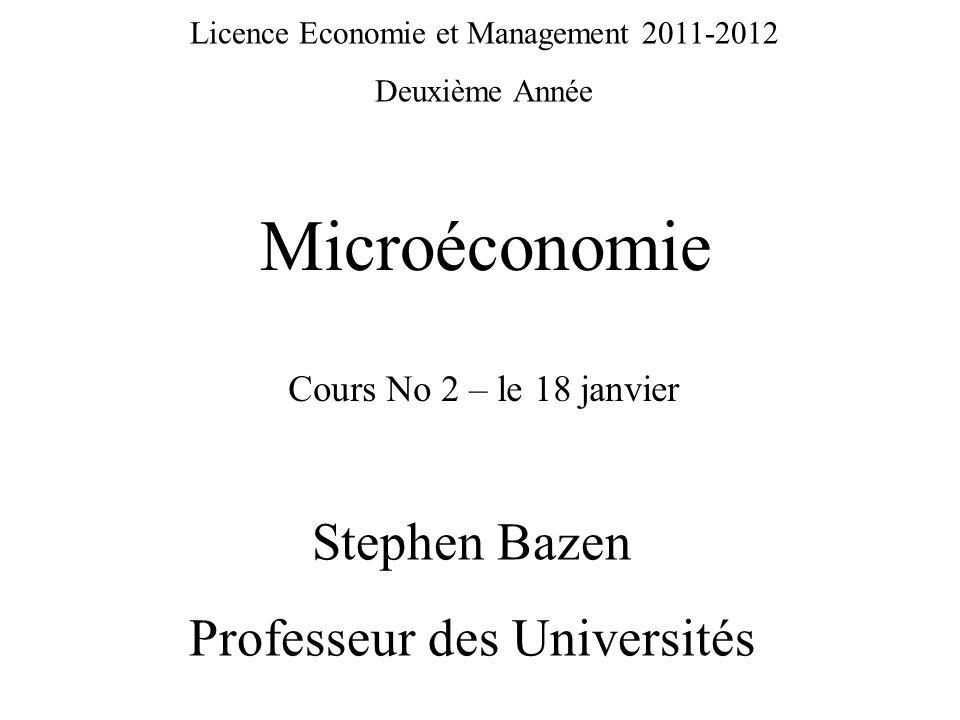 Microéconomie Stephen Bazen Professeur des Universités