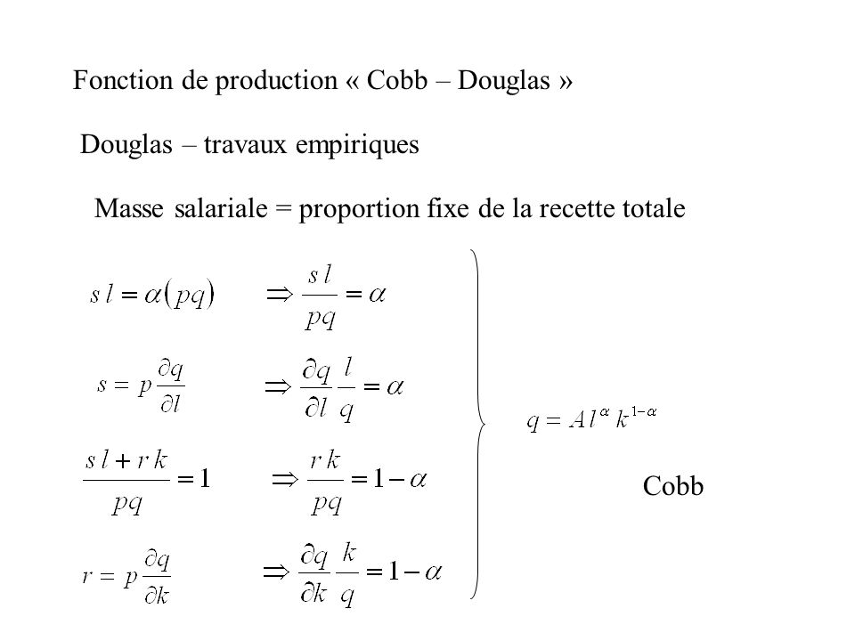Fonction de production « Cobb – Douglas »