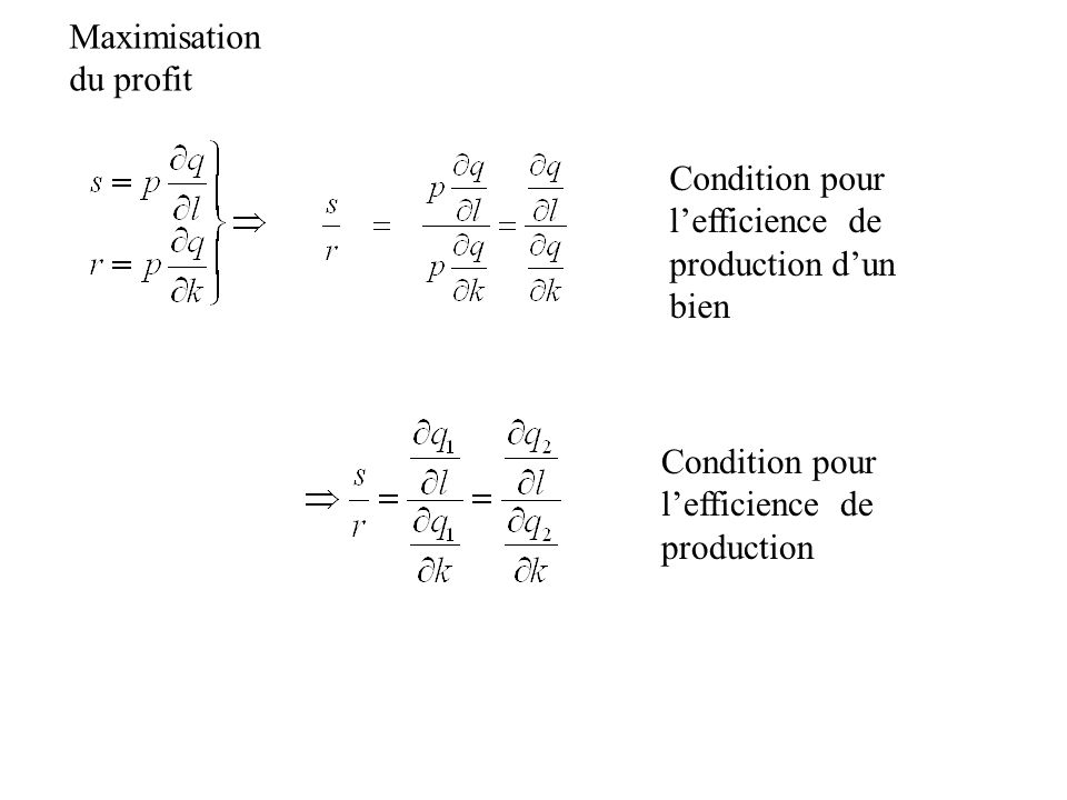 Maximisation du profit. Condition pour l'efficience de. production d'un bien. Condition pour l'efficience de.