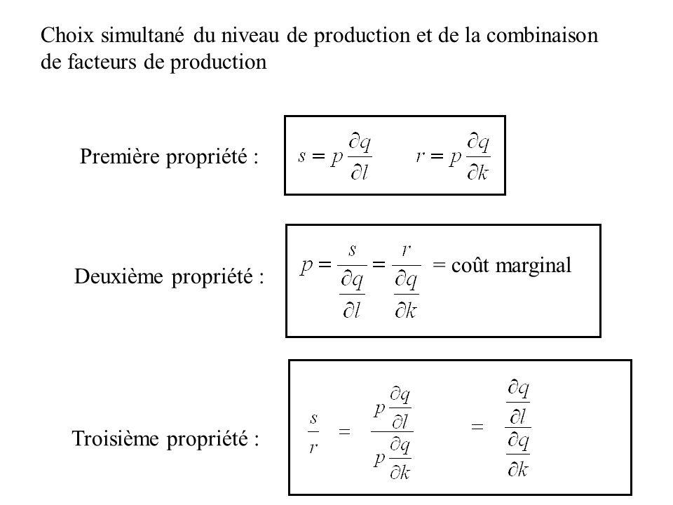 Choix simultané du niveau de production et de la combinaison de facteurs de production