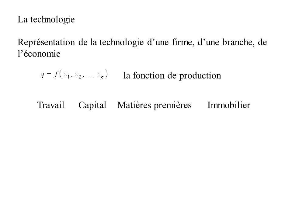 La technologie Représentation de la technologie d'une firme, d'une branche, de l'économie. la fonction de production.