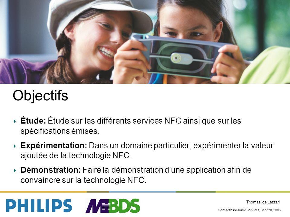 Objectifs Étude: Étude sur les différents services NFC ainsi que sur les spécifications émises.