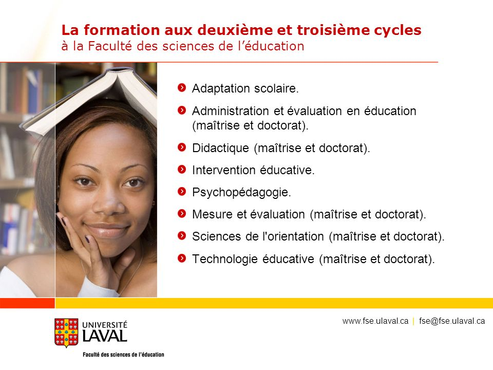 La formation aux deuxième et troisième cycles à la Faculté des sciences de l'éducation
