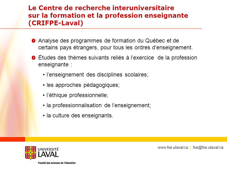 Le Centre de recherche interuniversitaire sur la formation et la profession enseignante (CRIFPE-Laval)