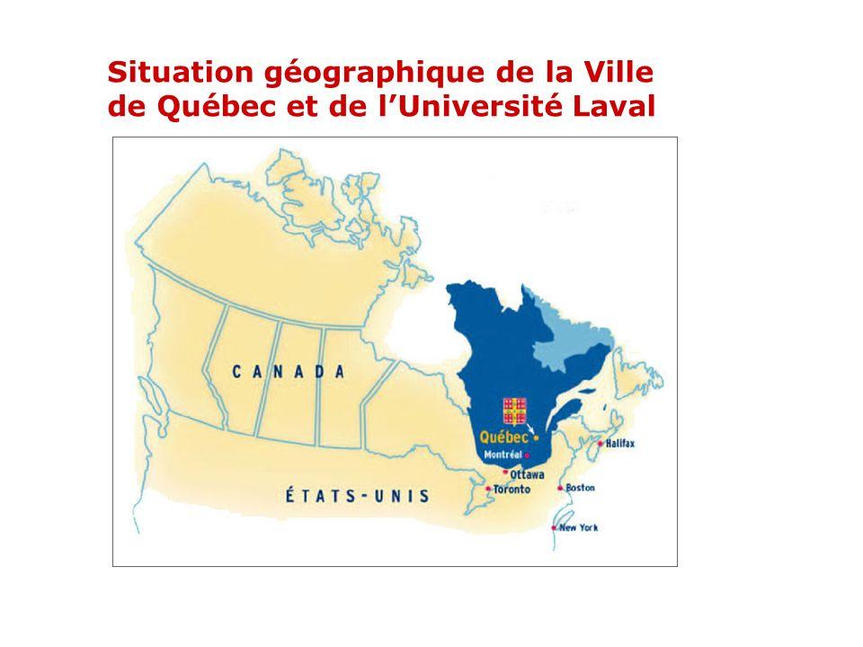 Situation géographique de la Ville de Québec et de l'Université Laval