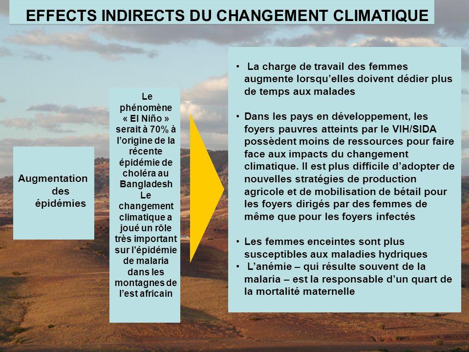 EFFECTS INDIRECTS DU CHANGEMENT CLIMATIQUE Augmentation des épidémies