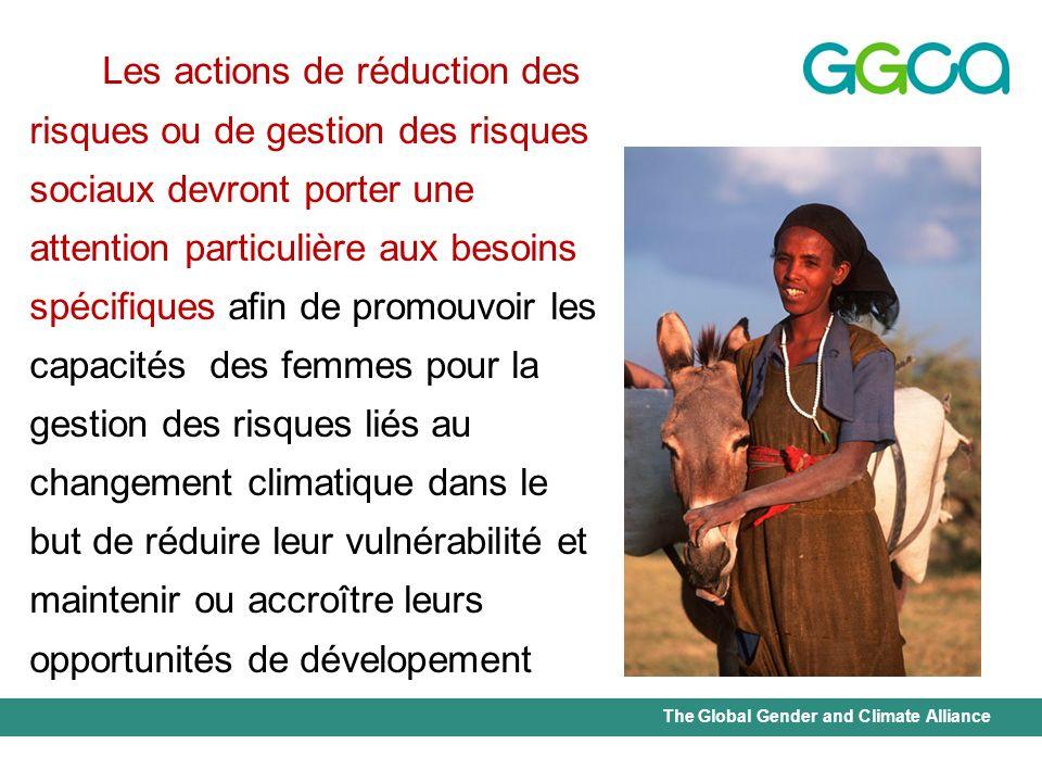 Les actions de réduction des risques ou de gestion des risques sociaux devront porter une attention particulière aux besoins spécifiques afin de promouvoir les capacités des femmes pour la gestion des risques liés au changement climatique dans le but de réduire leur vulnérabilité et maintenir ou accroître leurs opportunités de dévelopement