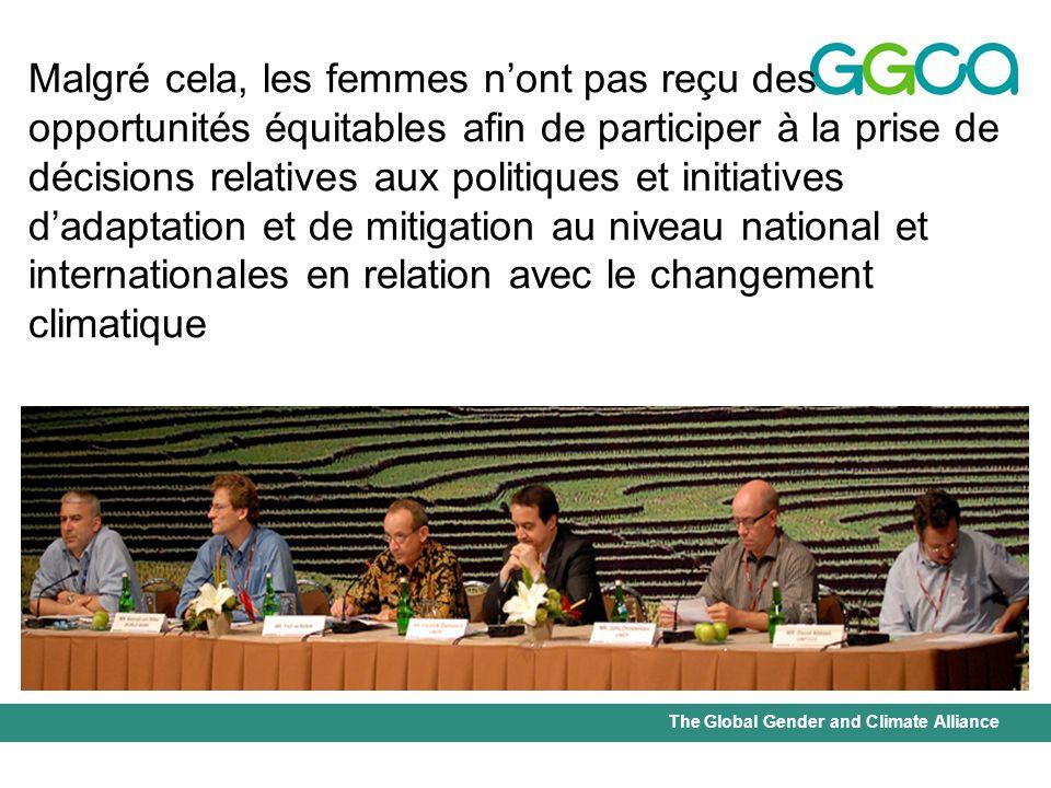 Malgré cela, les femmes n'ont pas reçu des opportunités équitables afin de participer à la prise de décisions relatives aux politiques et initiatives d'adaptation et de mitigation au niveau national et internationales en relation avec le changement climatique