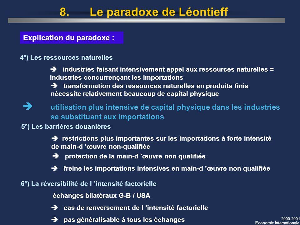 8. Le paradoxe de Léontieff