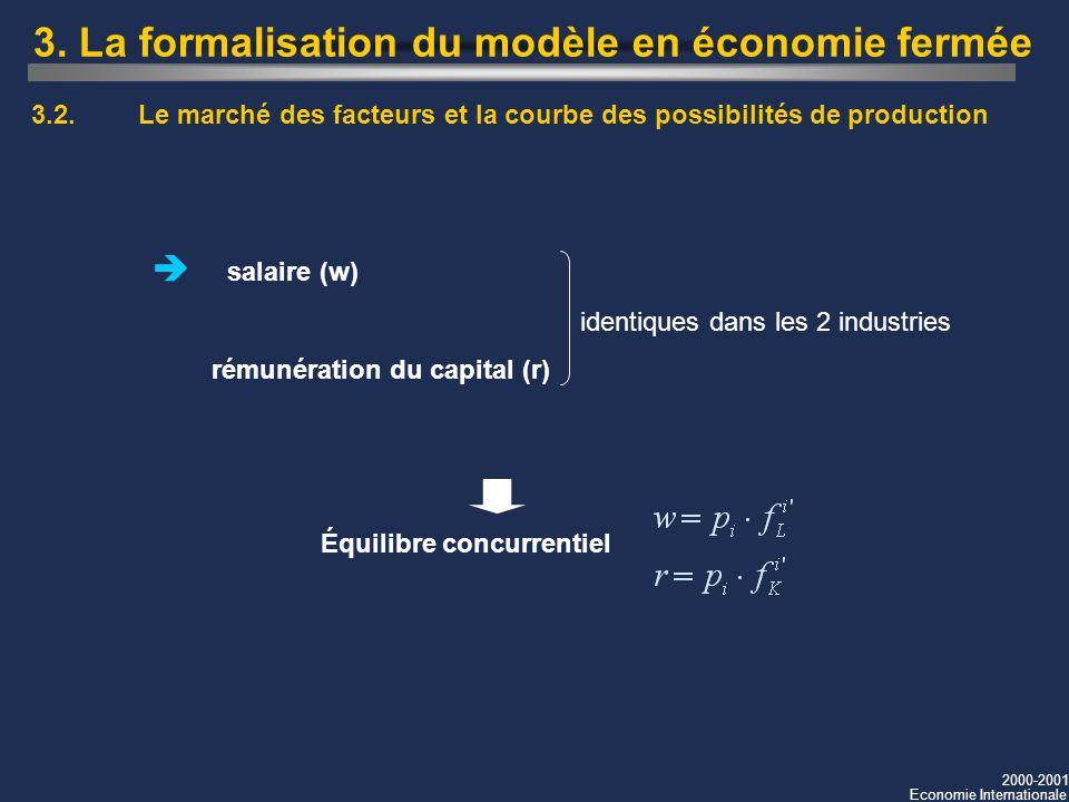 3. La formalisation du modèle en économie fermée