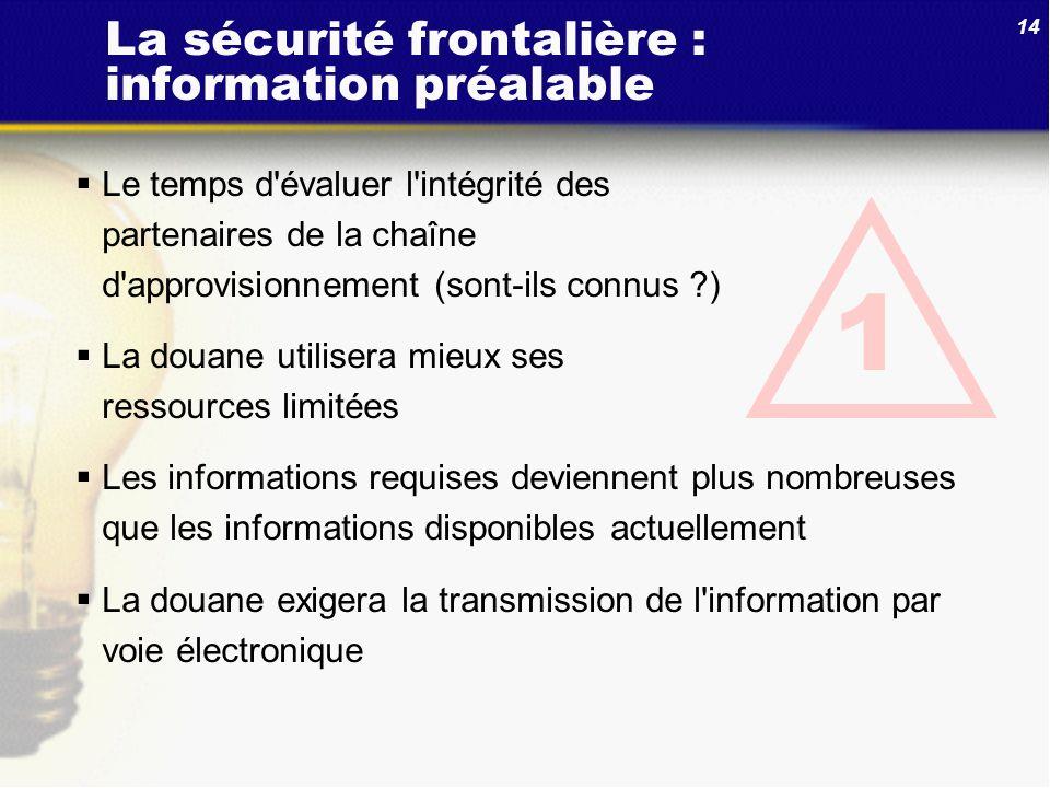 La sécurité frontalière : information préalable