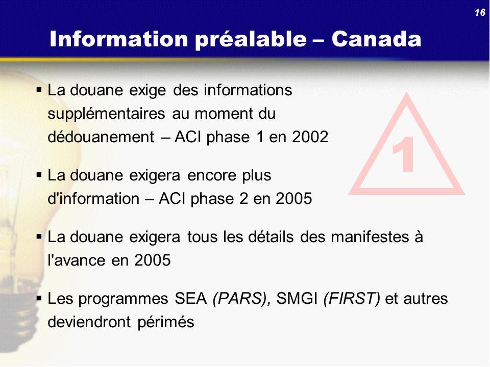 Information préalable – Canada
