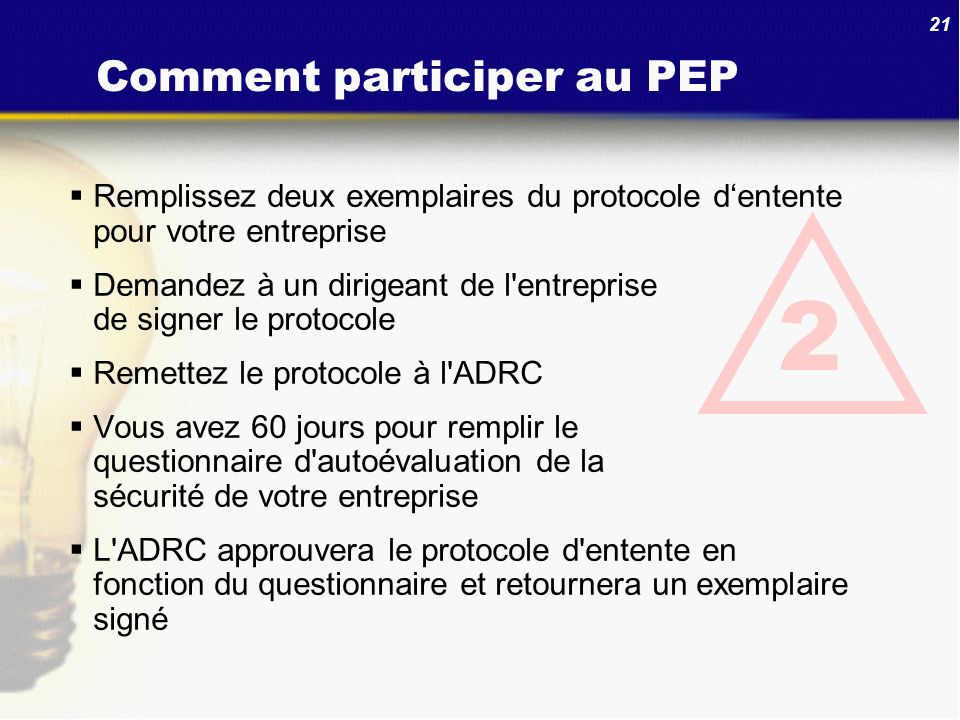Comment participer au PEP