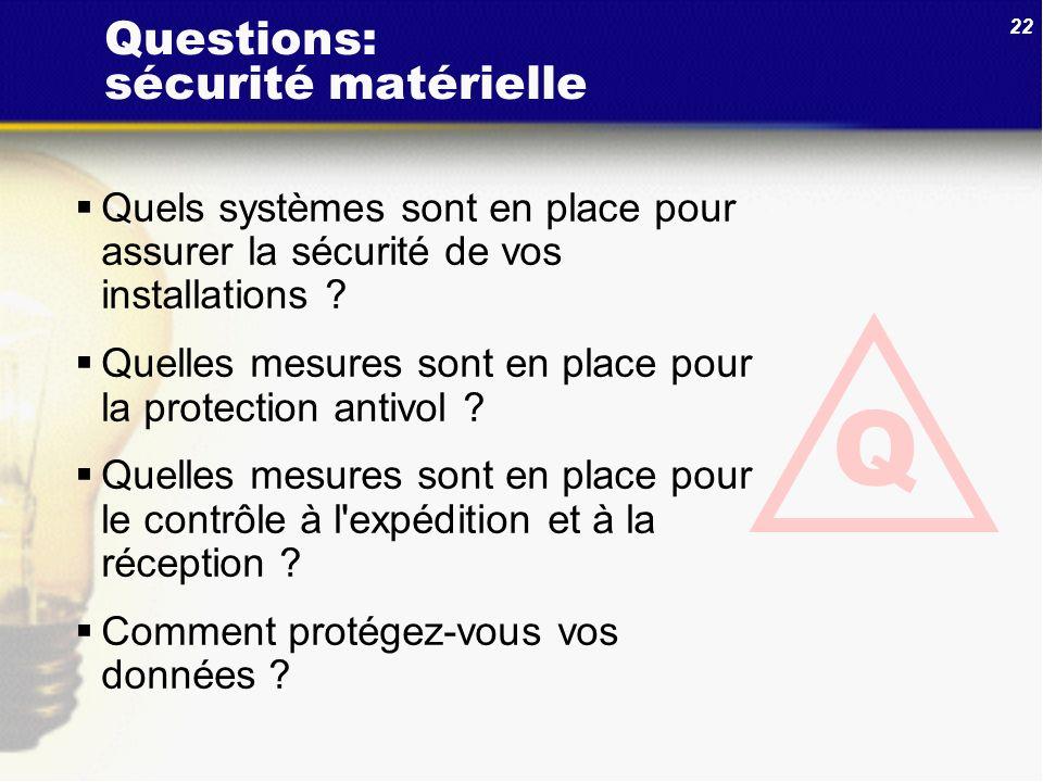 Questions: sécurité matérielle