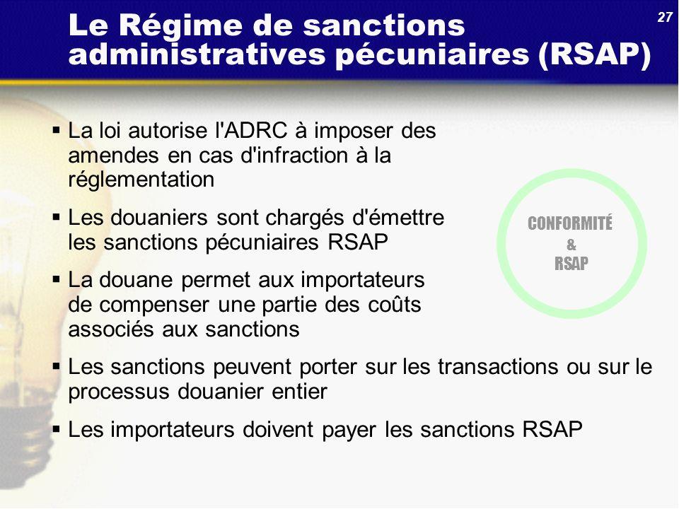 Le Régime de sanctions administratives pécuniaires (RSAP)