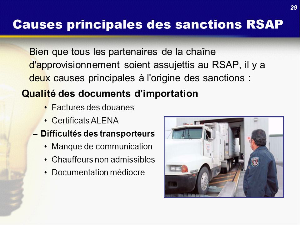 Causes principales des sanctions RSAP