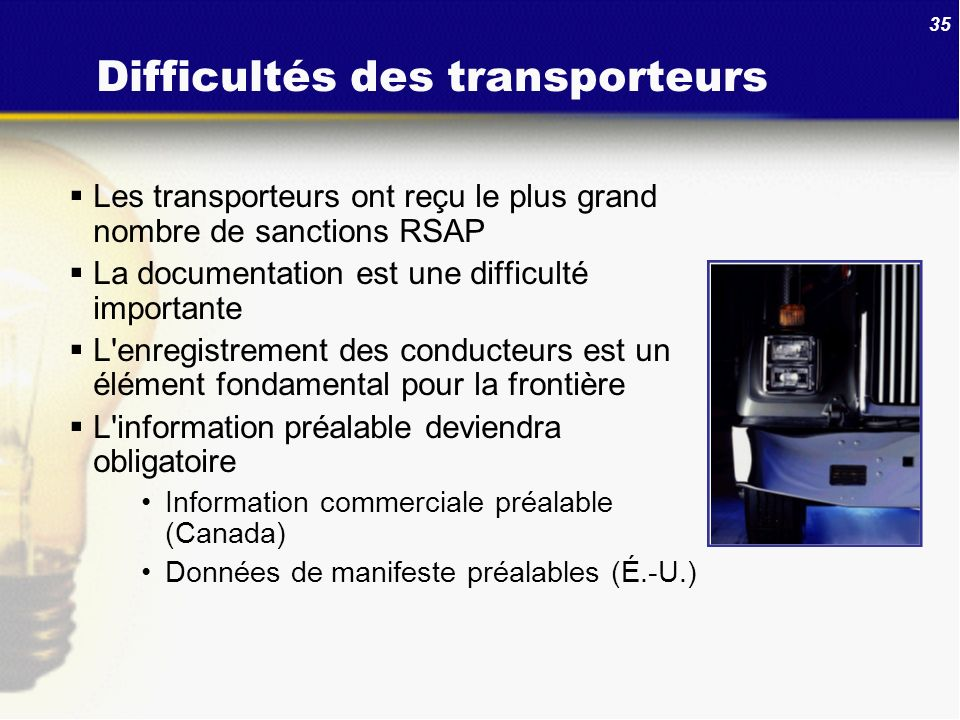Difficultés des transporteurs