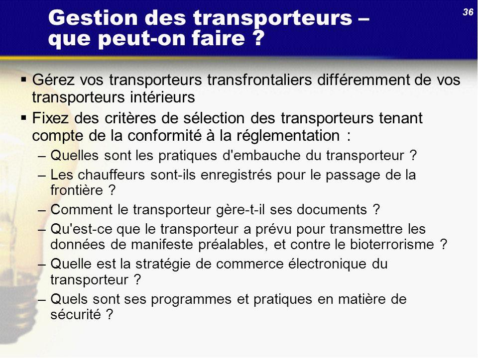 Gestion des transporteurs – que peut-on faire