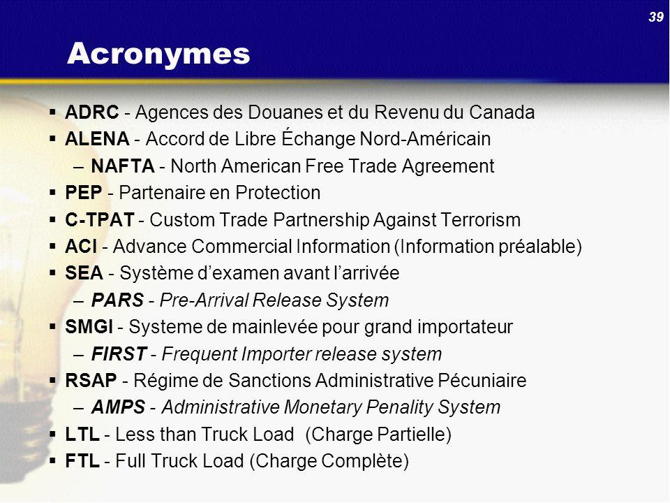 Acronymes ADRC - Agences des Douanes et du Revenu du Canada