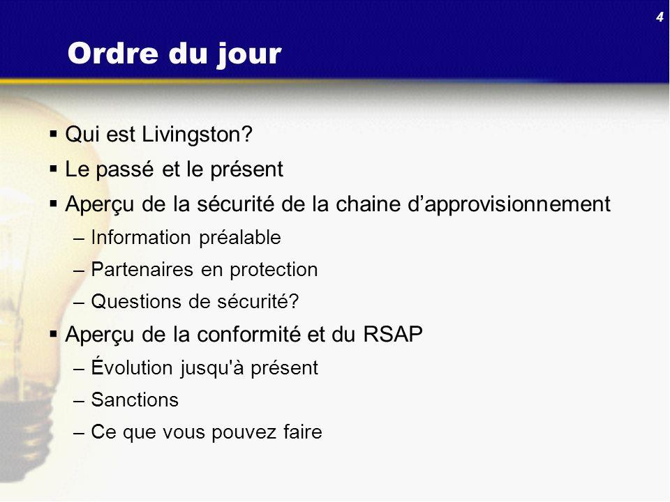 Ordre du jour Qui est Livingston Le passé et le présent