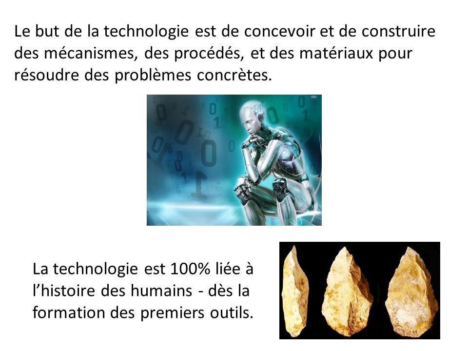 Le but de la technologie est de concevoir et de construire des mécanismes, des procédés, et des matériaux pour résoudre des problèmes concrètes.
