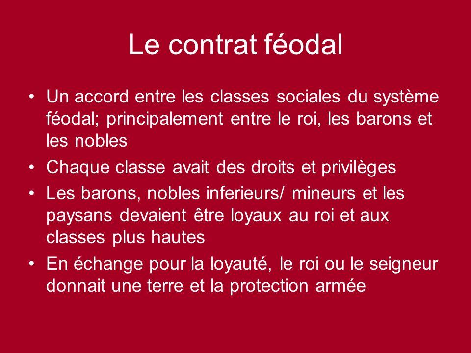 Le contrat féodal Un accord entre les classes sociales du système féodal; principalement entre le roi, les barons et les nobles.