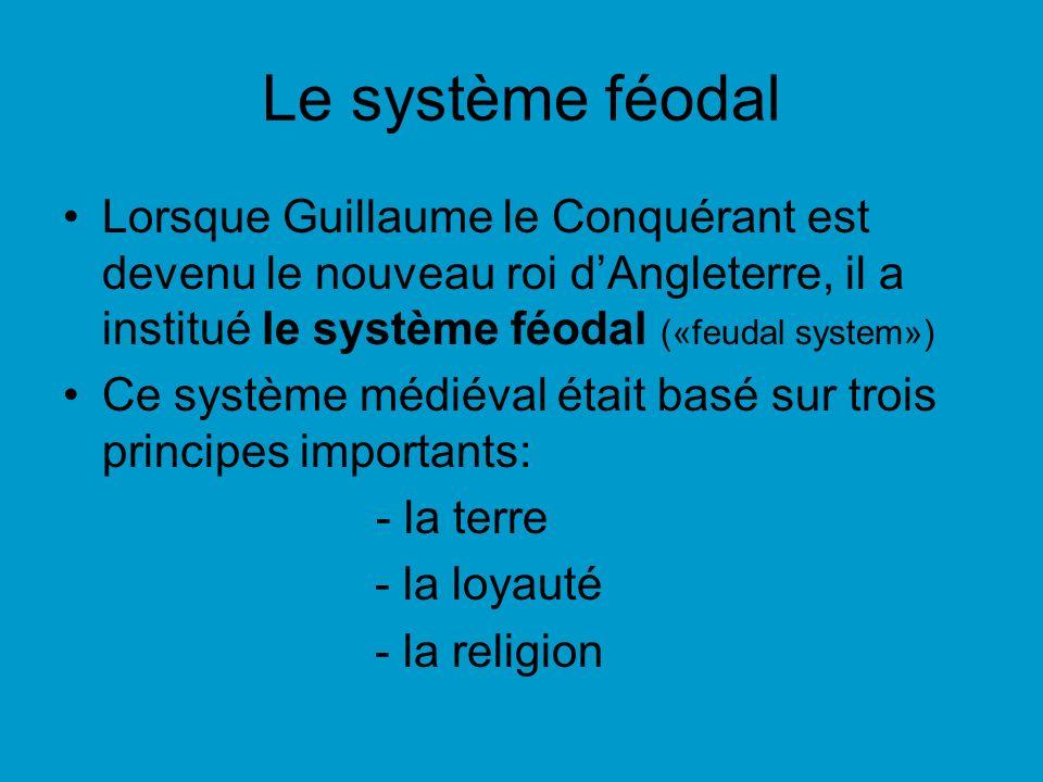 Le système féodal Lorsque Guillaume le Conquérant est devenu le nouveau roi d'Angleterre, il a institué le système féodal («feudal system»)