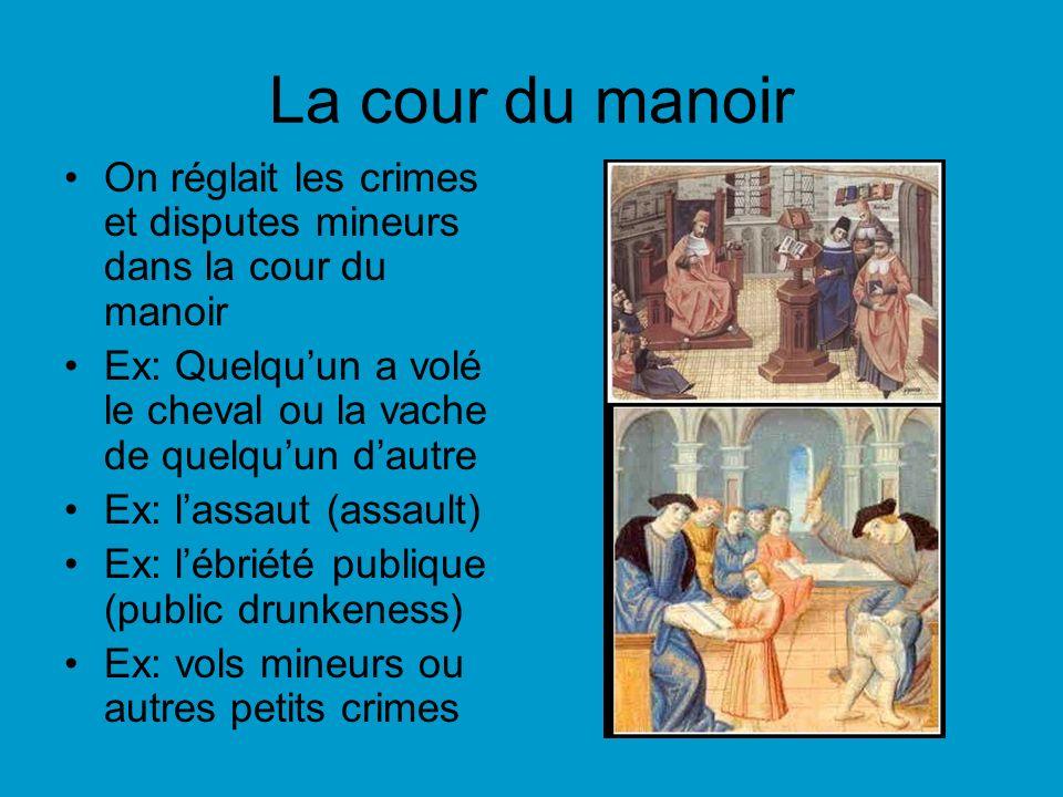 La cour du manoir On réglait les crimes et disputes mineurs dans la cour du manoir. Ex: Quelqu'un a volé le cheval ou la vache de quelqu'un d'autre.