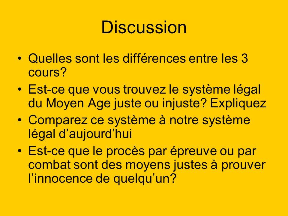 Discussion Quelles sont les différences entre les 3 cours