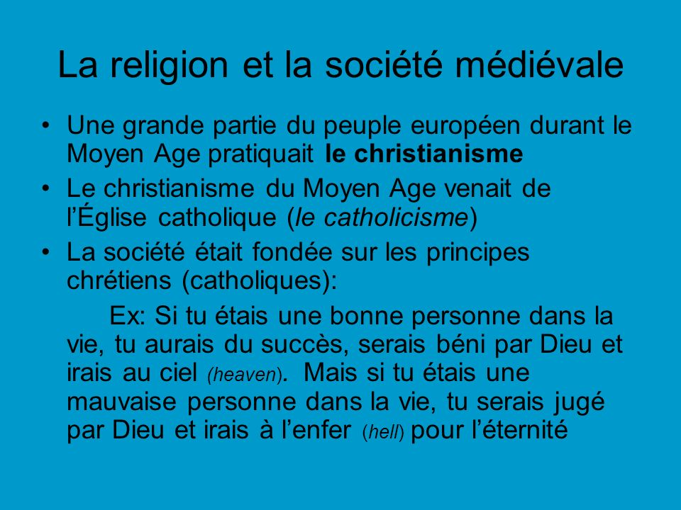 La religion et la société médiévale