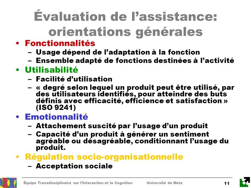 Évaluation de l'assistance: orientations générales