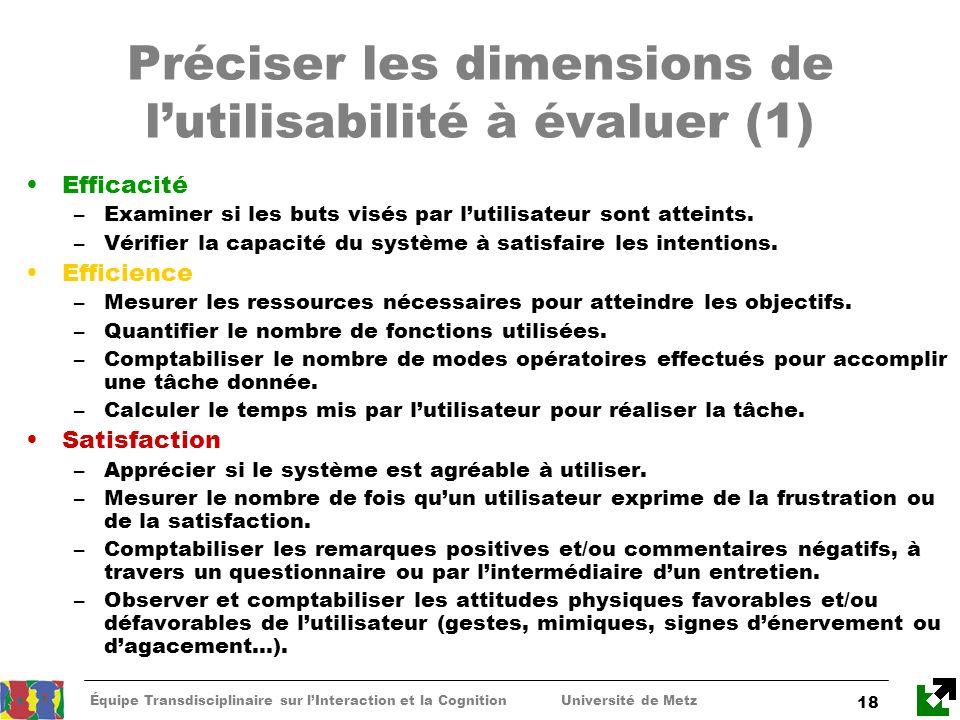 Préciser les dimensions de l'utilisabilité à évaluer (1)