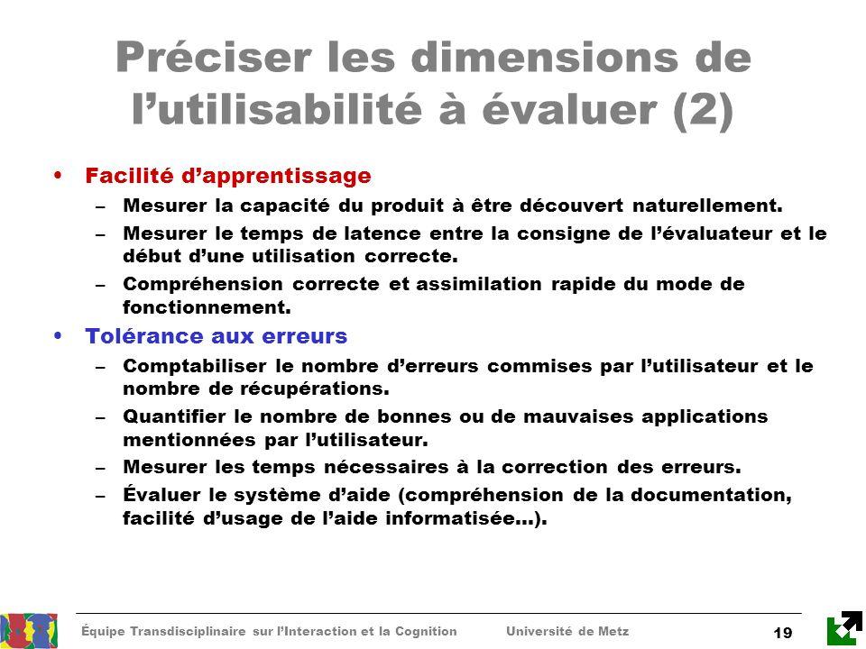 Préciser les dimensions de l'utilisabilité à évaluer (2)