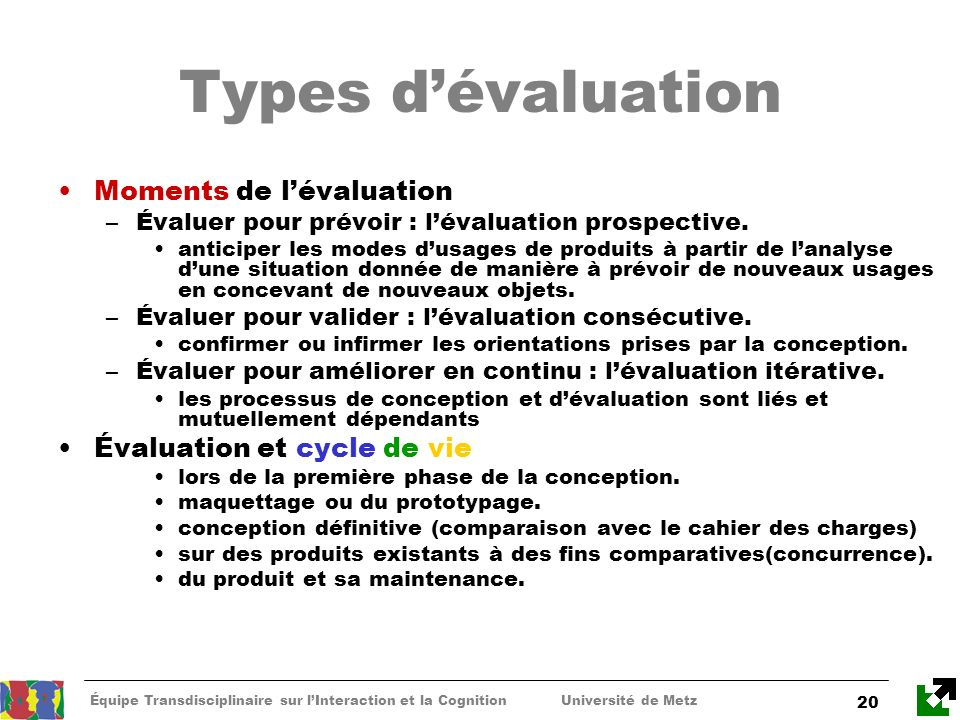 Types d'évaluation Moments de l'évaluation Évaluation et cycle de vie