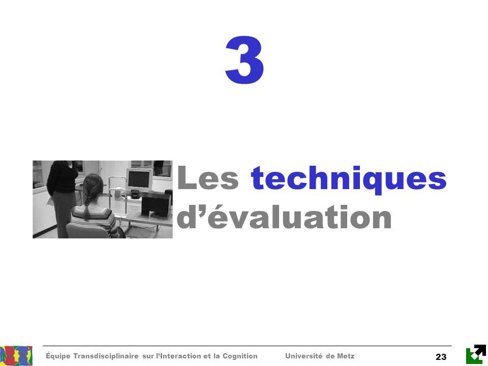 3 Les techniques d'évaluation