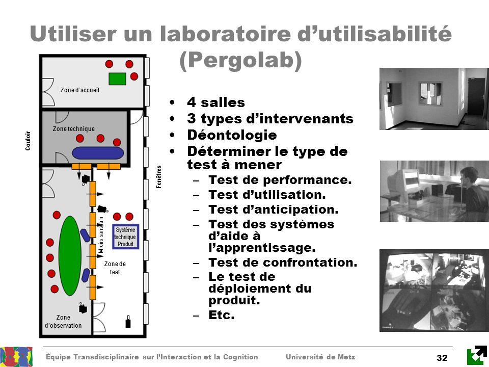 Utiliser un laboratoire d'utilisabilité (Pergolab)