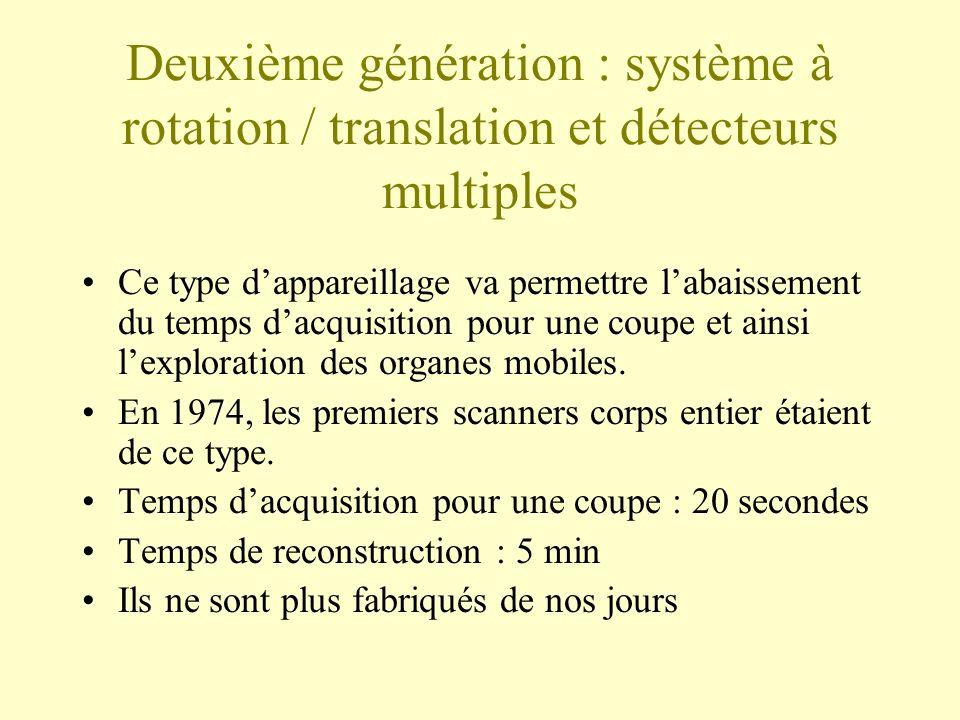 Deuxième génération : système à rotation / translation et détecteurs multiples