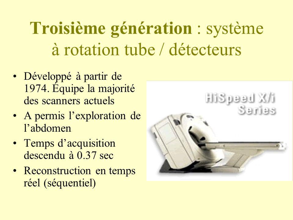 Troisième génération : système à rotation tube / détecteurs