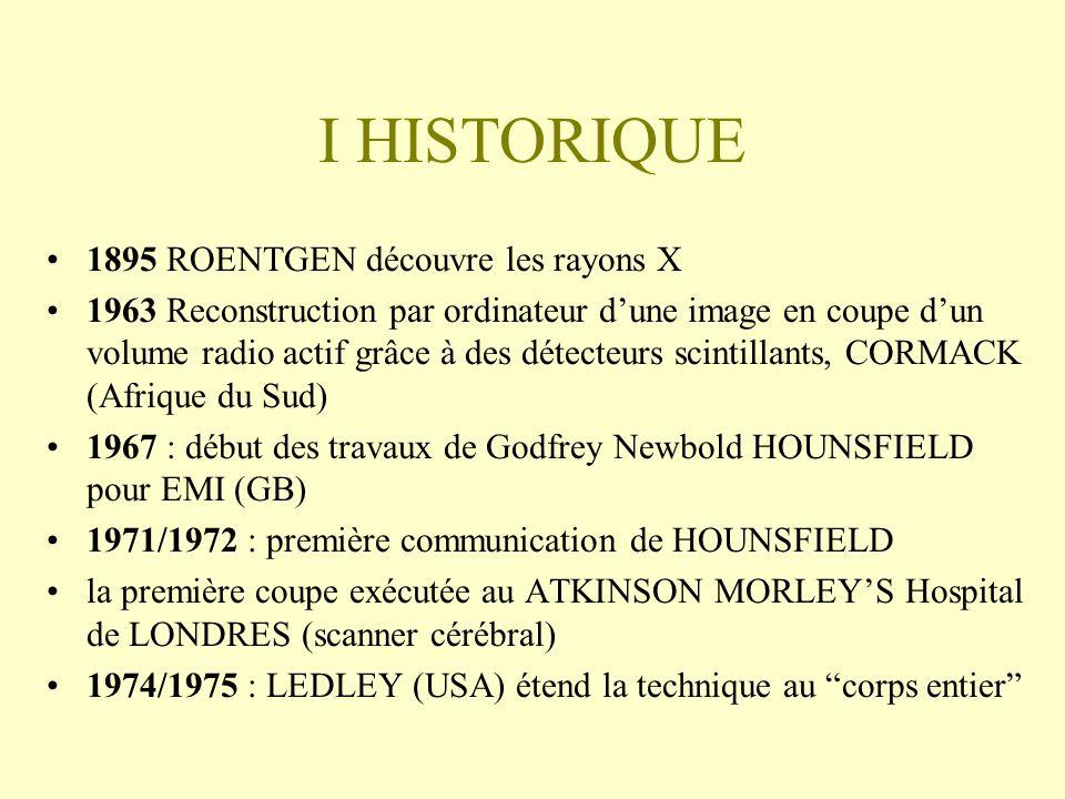 I HISTORIQUE 1895 ROENTGEN découvre les rayons X