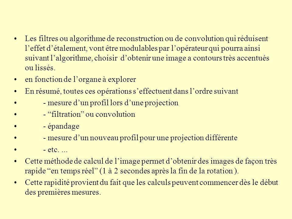 Les filtres ou algorithme de reconstruction ou de convolution qui réduisent l'effet d'étalement, vont être modulables par l'opérateur qui pourra ainsi suivant l'algorithme, choisir d'obtenir une image a contours très accentués ou lissés.