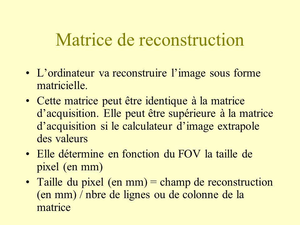 Matrice de reconstruction