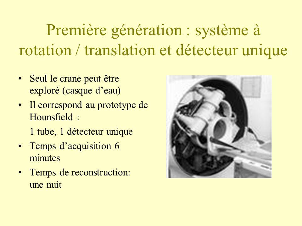 Première génération : système à rotation / translation et détecteur unique