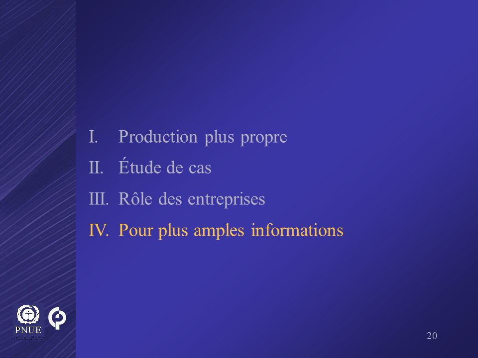 I. Production plus propre