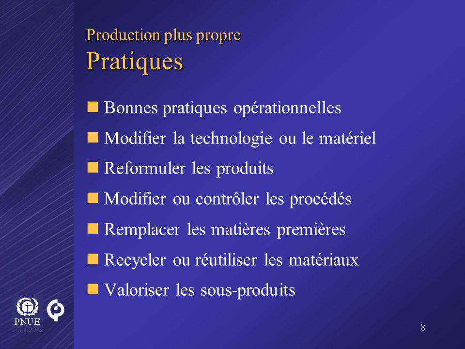 Production plus propre Pratiques