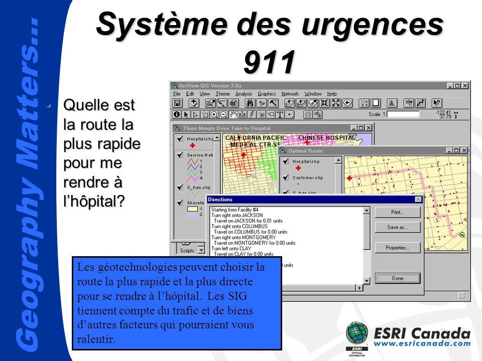 Système des urgences 911 Quelle est la route la plus rapide pour me rendre à l'hôpital