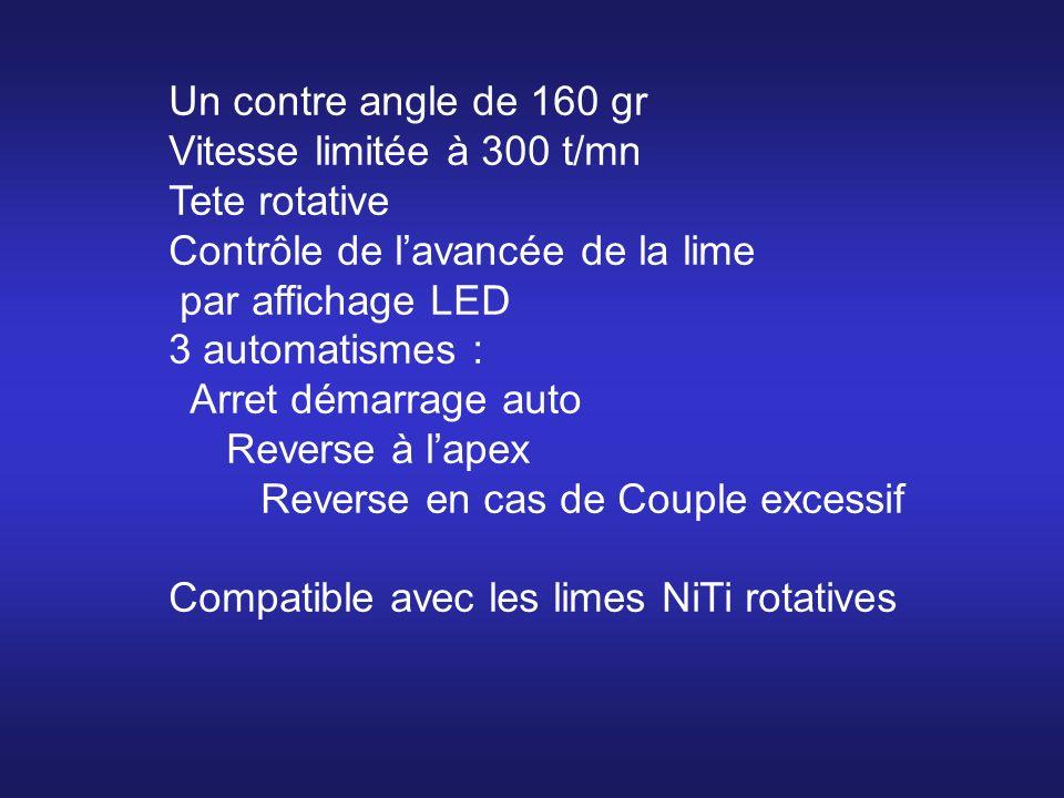 Un contre angle de 160 gr Vitesse limitée à 300 t/mn. Tete rotative. Contrôle de l'avancée de la lime.
