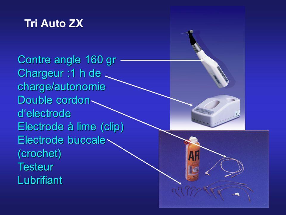 Tri Auto ZX Contre angle 160 gr. Chargeur :1 h de charge/autonomie. Double cordon d'electrode. Electrode à lime (clip)