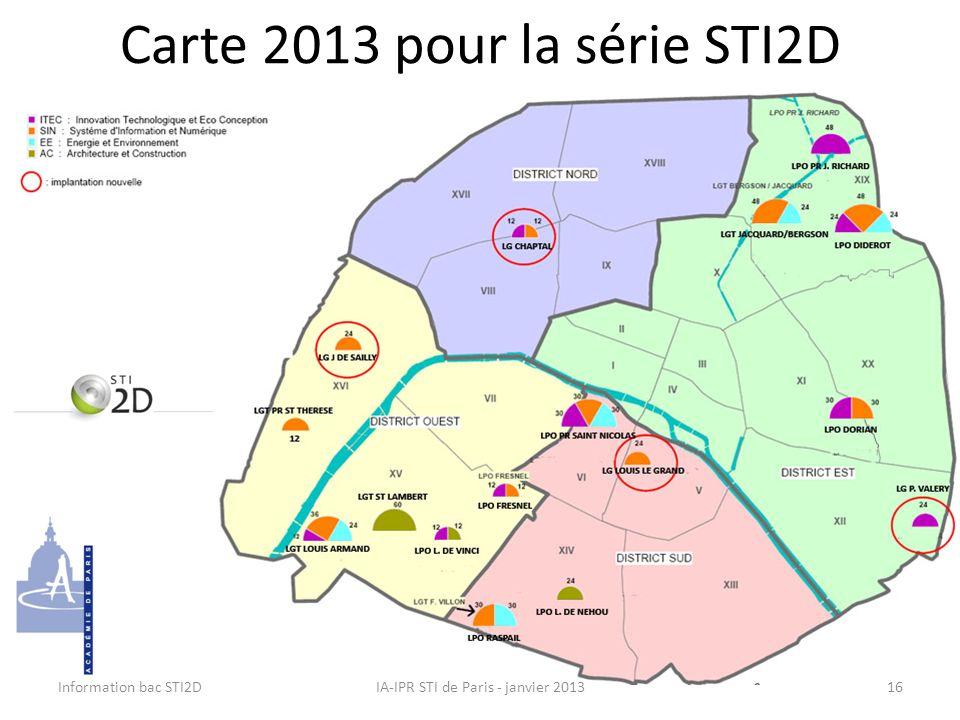 Carte 2013 pour la série STI2D