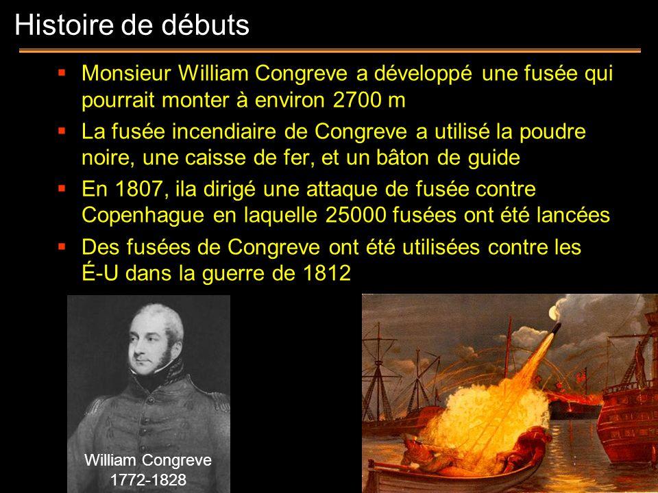 Histoire de débuts Monsieur William Congreve a développé une fusée qui pourrait monter à environ 2700 m.